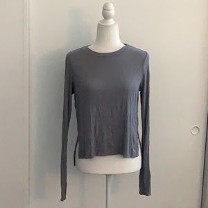 Joy Lab grey ribbed athletic long sleeve shirt